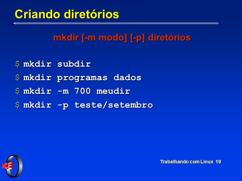 mkdir [-m modo] [-p] diretórios